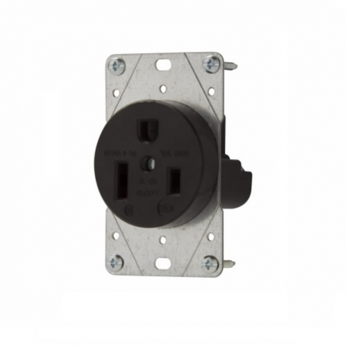 50 Amp Receptacle >> Eaton 50 Amp Nema 6 50r 250v Flush Mount Power Receptacle Black