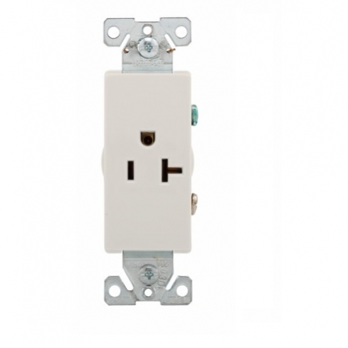 Eaton 20 Amp Decora Single Receptacle, Commercial Grade, White