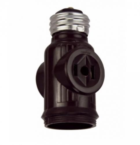 660W NEMA 1-15R Medium Base Socket Adapter w/ Keyless Switch, Brown