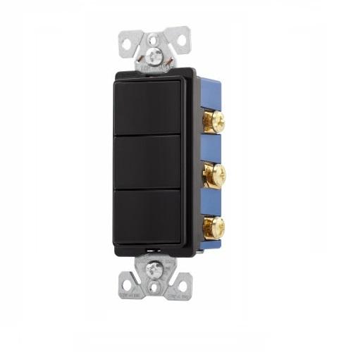 Three 15 Amp Single Pole Rocker Switch, Auto Ground, Black