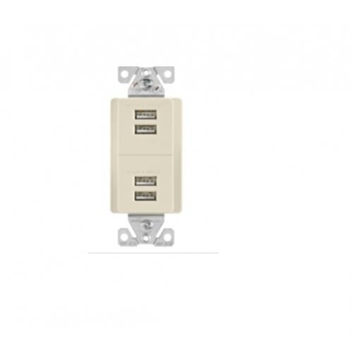 5 Amp 4-Port USB Charging Station, Type A, Light Almond