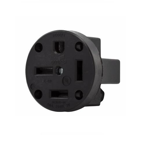 Eaton 50 Amp Power Receptacle, 3-Phase, Panel Mount, Black on
