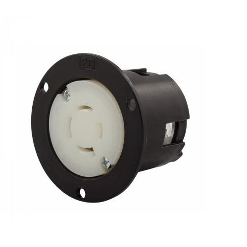 20 Amp Flanged Outlet, NEMA L20-20, 347/600V, Black/White