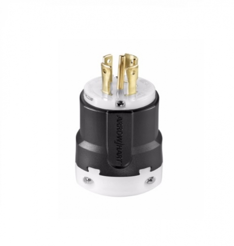 30 Amp Locking Plug, NEMA L22-30, Black/White