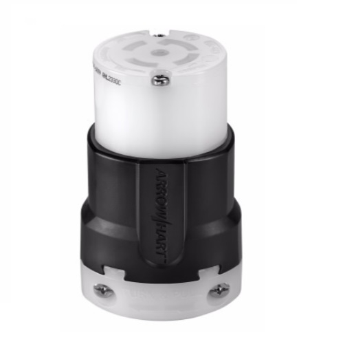 30 Amp Locking Connector, NEMA L23-20, Black/White