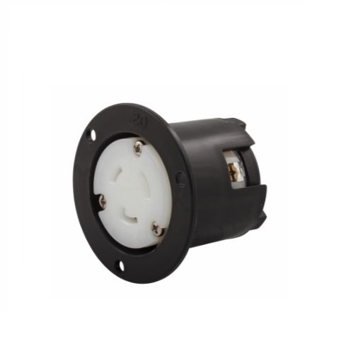 20 Amp Flanged Outlet, Nylon, Industrial, Black/White