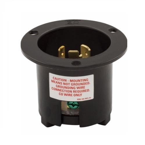 20 Amp Flanged Inlet, NEMA L6-20, 250V, Black