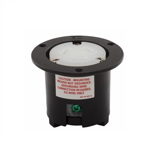 20 Amp Flanged Outlet, NEMA L6-20, 250V, Black/White
