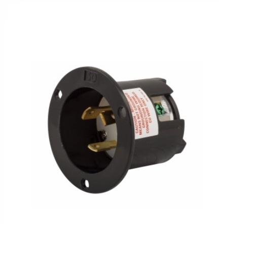 30 Amp Flanged Inlet, NEMA L6-30, 250V, Black