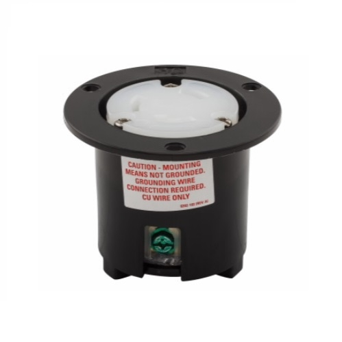 30 Amp Flanged Outlet, NEMA L6-30, 250V, Black/White