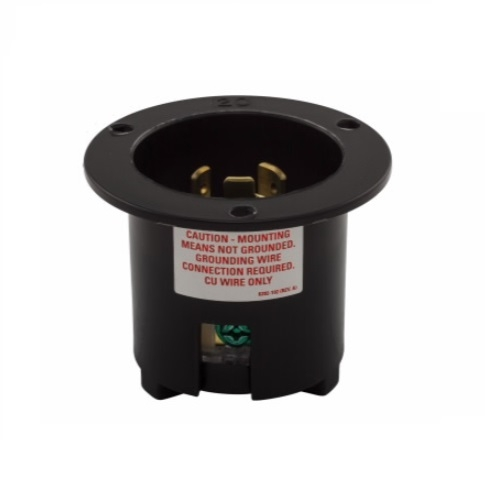 20 Amp Flanged Inlet, Locking, NEMA L7-20, 277V, Black