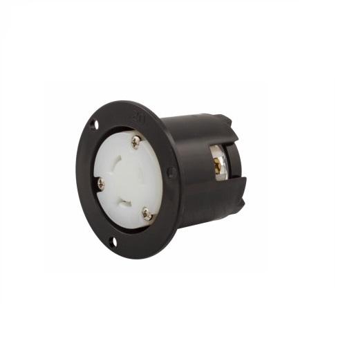20 Amp Flanged Outlet, Locking, NEMA L7-20, 277V, Black/White