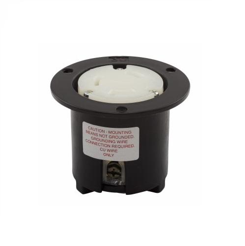 30 Amp Flanged Outlet, NEMA L7-30, 277V, Black/White