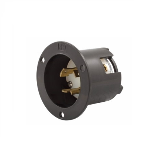 20 Amp Flanged Inlet, Locking, NEMA L8-20, 480V, Black
