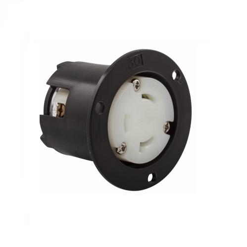 30 Amp Flanged Outlet, Locking, NEMA L8-30, 480V, Black/White