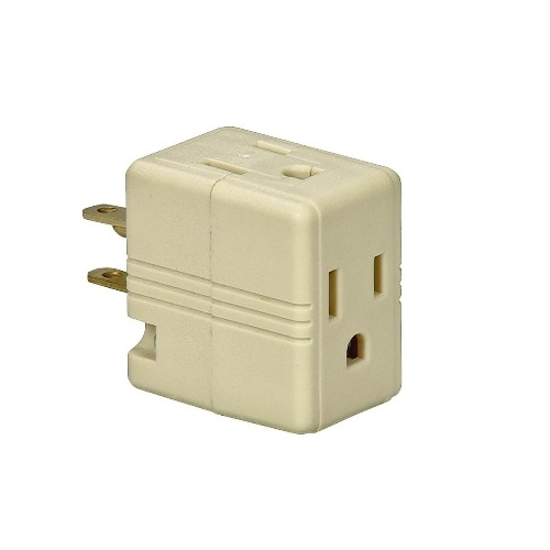 15 Amp Cube Tap, Three Outlet, Ivory