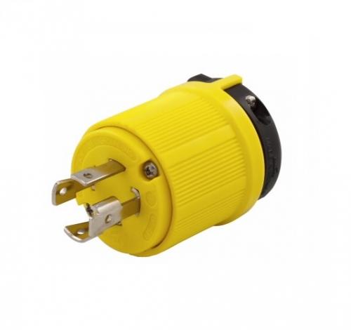 Eaton 30 Amp Locking Plug, Corrosion Resistant, NEMA 15-30, Yellow