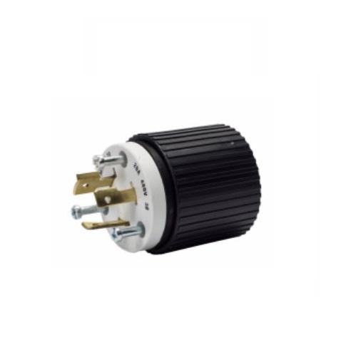 20 amp locking plug, nema l12-20, 480v, black/white