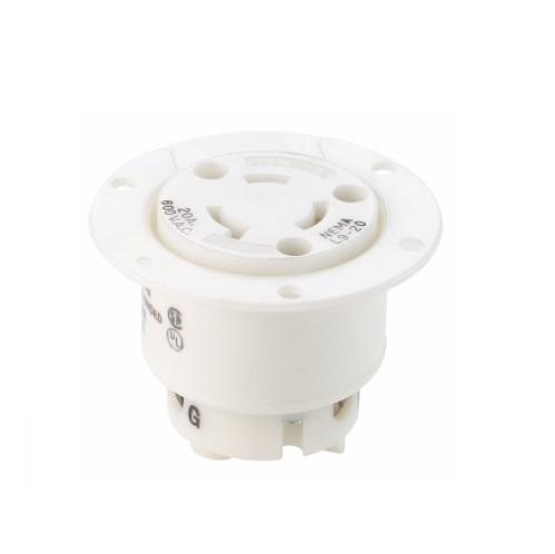 20 Amp Flanged Outlet, NEMA L9-20, 600V, Black/White