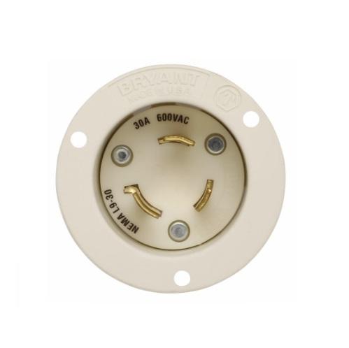 30 Amp Flanged Inlet, NEMA L9-30, 600V, Black/White