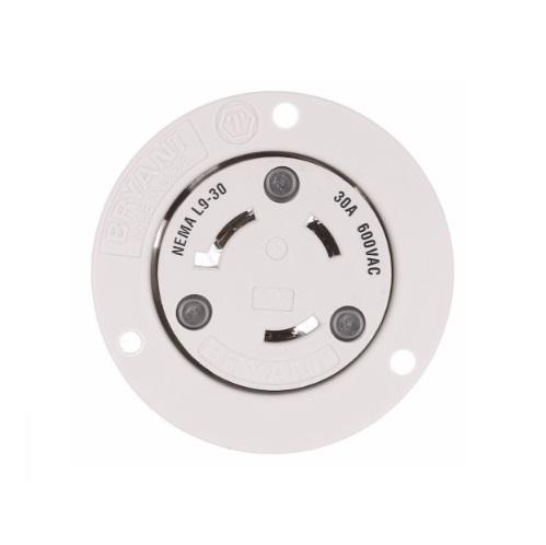 30 Amp Flanged Outlet, NEMA L9-30, 600V, Black/White