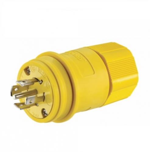 20 Amp Locking Plug, Watertight, NEMA L23-20, 347/600V, Yellow