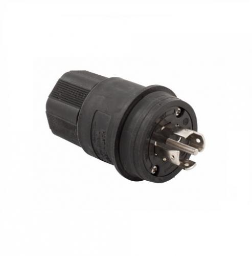 20 Amp Locking Plug, Watertight, NEMA L23-20, 347/600V, Black