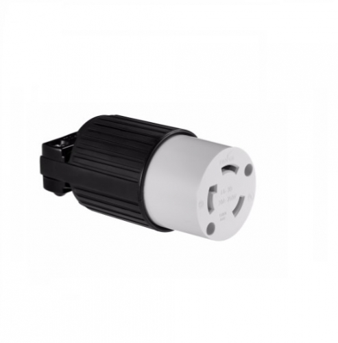 30 amp locking connector, industrial, nema l6-30, black/white