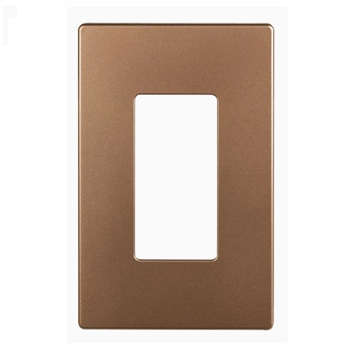 1-Gang Decora Wall Plate, Mid-Size, Screwless, Polycarbonate, Brushed Bronze