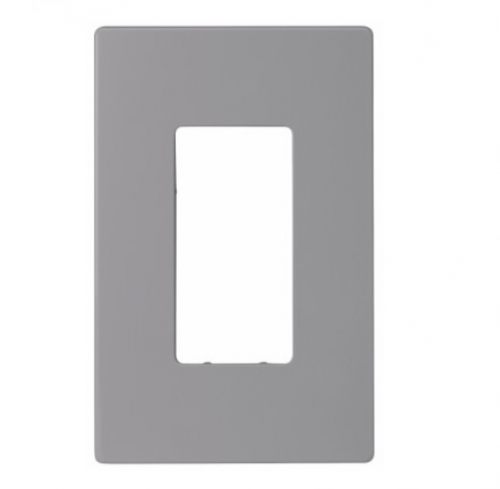 1-Gang Decora Wall Plate, Mid-Size, Screwless, Grey