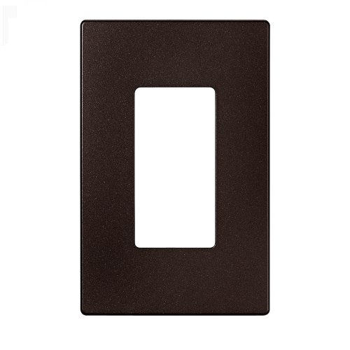 1-Gang Decora Wall Plate, Mid-Size, Screwless, Polycarbonate, Oil Rubbed Bronze
