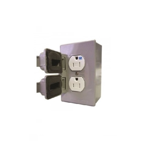 15 Amp Weather Proof Duplex Receptacle Cover Kit, Tamper Resistant, Gray