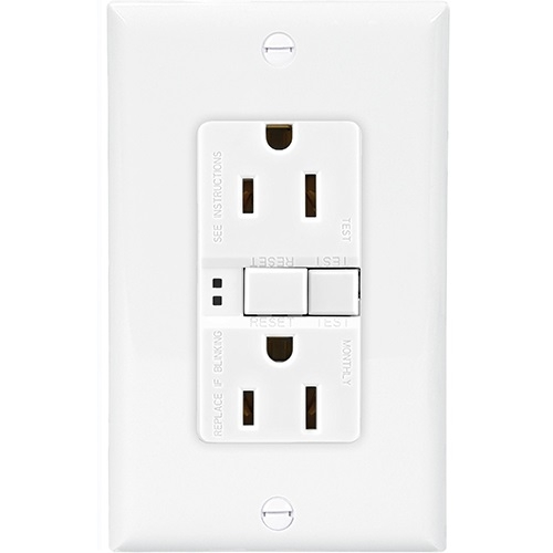 Eaton 20 Amp Duplex GFCI Receptacle Outlet, White (Eaton