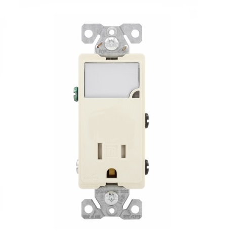 15 Amp Nightlight w/ Receptacle, Tamper Resistant, Almond