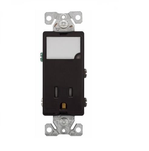 15 Amp Nightlight w/ Receptacle, Tamper Resistant, Black