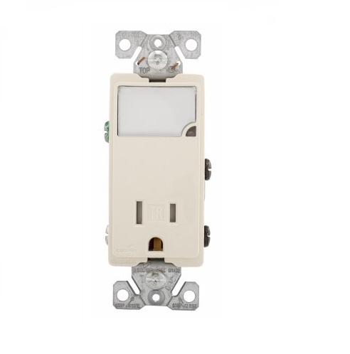 15 Amp Nightlight w/ Receptacle, Tamper Resistant, Light Almond
