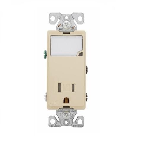 15 Amp Nightlight w/ Receptacle, Tamper Resistant, Ivory