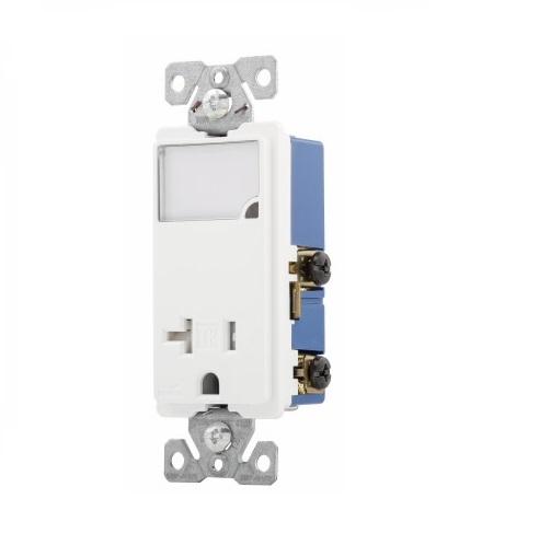 20 Amp Nightlight w/ Receptacle, Tamper Resistant, White