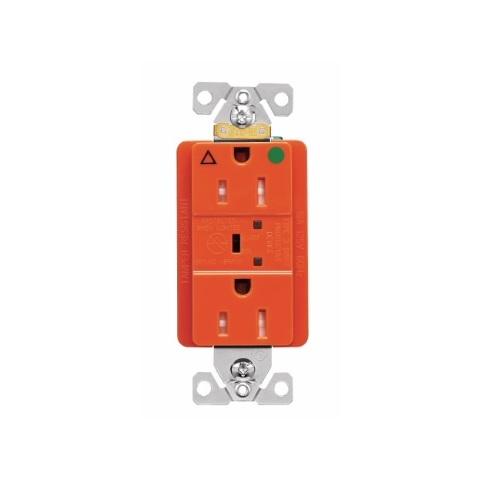 15 Amp Surge Protection Receptacle w/Alarm & LED Indicators, Hospital Grade, Orange