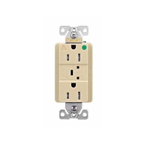 20 Amp Surge Protection Receptacle w/Alarm & LED Indicators, Hospital Grade, Ivory