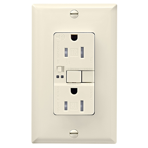 15 Amp Tamper Resistant Duplex GFCI Outlet w/ Audible Alarm, Light Almond