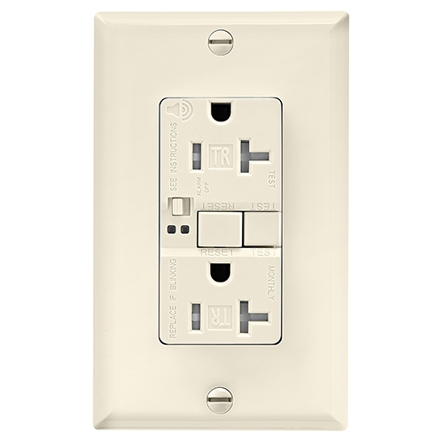 20 Amp Tamper Resistant Duplex GFCI Outlet w/ Audible Alarm, Light Almond