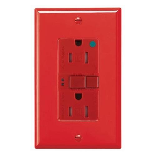 20 Amp Tamper Resistant Hospital Grade GFCI Outlet w/ ArrowLink, Red