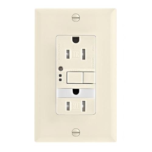 15 Amp Tamper Resistant GFCI Outlet w/ Nightlight, Self-Test, Light Almond