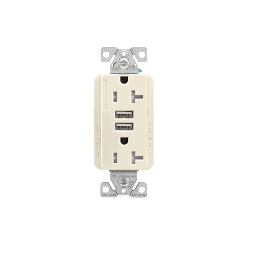 20 Amp Duplex Receptacle w/USB Charger, Tamper Resistant, Light Almond
