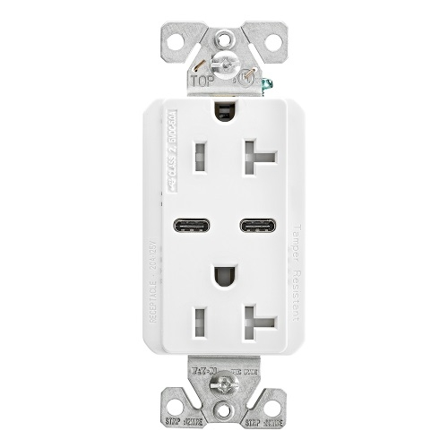 Awe Inspiring Eaton 20 Amp Combo Usb Type C Charger W Tr Duplex Receptacle White Wiring Digital Resources Indicompassionincorg