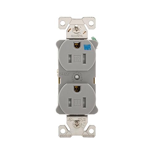 15 Amp Tamper & Weather Resistant NEMA 5-15R Duplex Receptacle, Gray