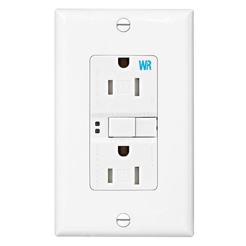 15 Amp Tamper & Weather Resistant GFCI Receptacle Outlet, White