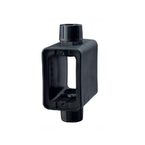 Extra Depth, Portable Outlet Box & Duplex Receptacle Cover Plate w/Flip Lid, Black