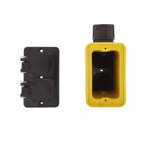 Portable Outlet Box & Duplex Receptacle Cover Plate Kit w/Flip Lid, Extra Depth, Yellow